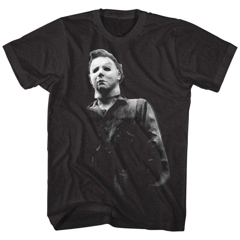Camiseta para hombre enmascarada de película de terror de Halloween Michael Myers escalofriante malvado villano Vintage gráfico camiseta