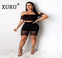 xuru womens jumpsuit set 2020 europe and america hot sale one shoulder lace sexy jumpsuit two piece set