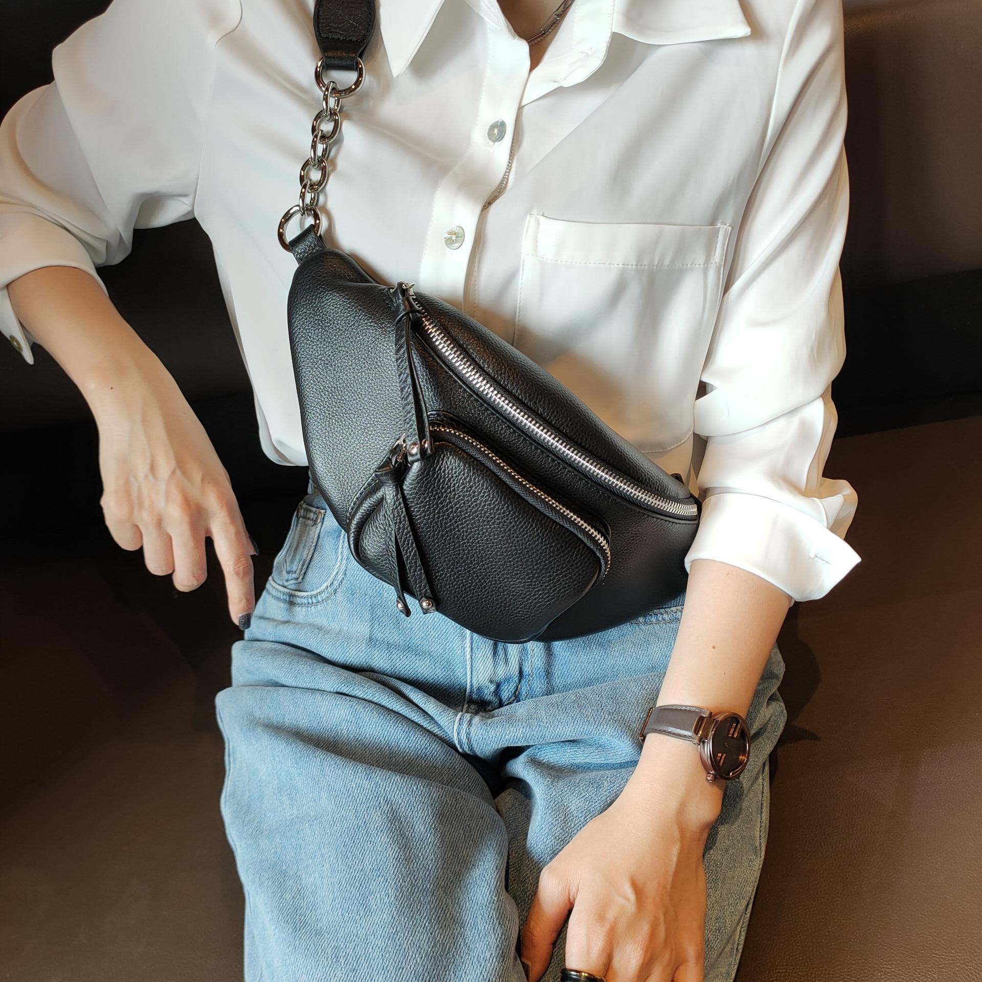 BRIGGS-حقيبة صدر نسائية من الجلد الطبيعي الناعم ، حقيبة كتف صغيرة ، عصرية ، باللونين الأسود والأزرق والأبيض ، 2021