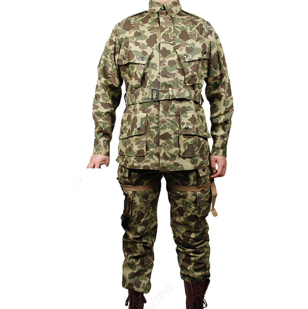 Camouflage M42 Suit Paratrooper Airborne Jump  Retro Ameican OSS HBT Jacket Military Jacket Suit Pants
