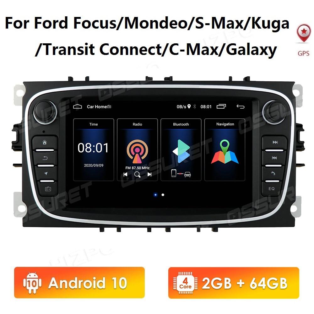 Para Ford Focus Mondeo S-Max Galaxy C-Max Kuga Transit Connect Android10 2DIN...