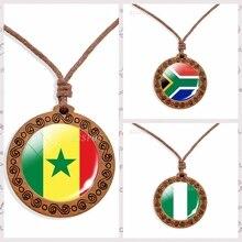 Drapeau National africain collier en bois egypte Nigeria LibyaSouth afrique verre Cabochon bijoux bois pendentif patriote Souvenir cadeaux