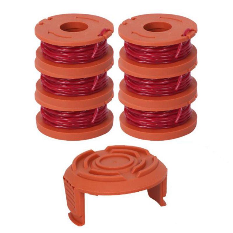 6 pçs linha de carretel substituição com 1 tampa capa para worx wa0010 grama trimmer edger carretel linhas u homecastle loja