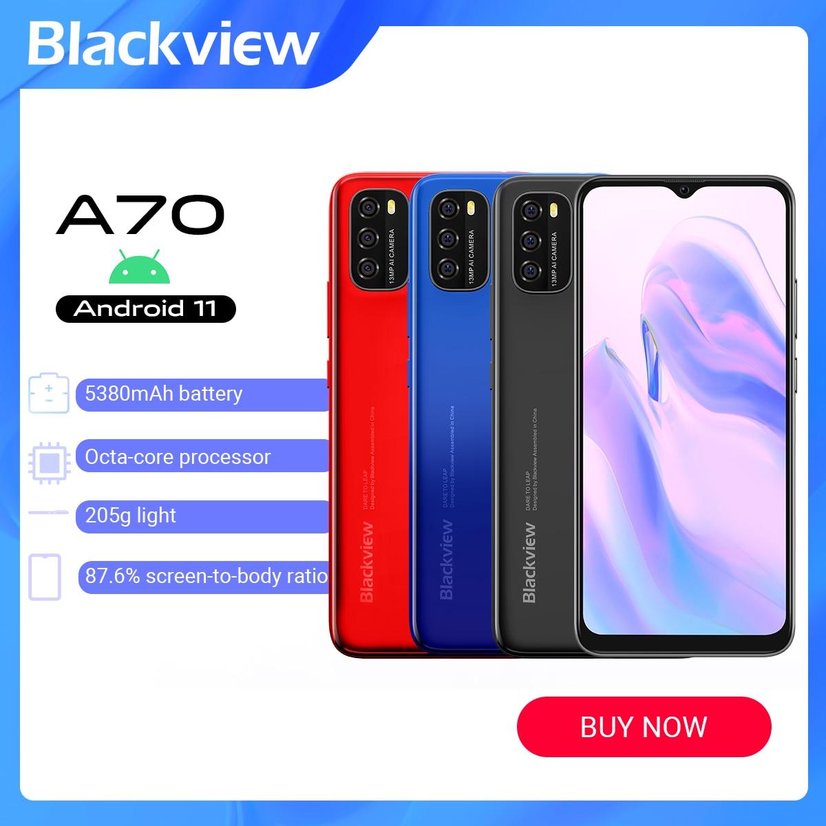 Blackview A70 الروبوت 11 3GB RAM + 32GB ROM 6.5 بوصة 4G الهاتف المحمول الثماني النواة 13MP الخلفية كاميرا 5380mAh GPS بصمة إفتح