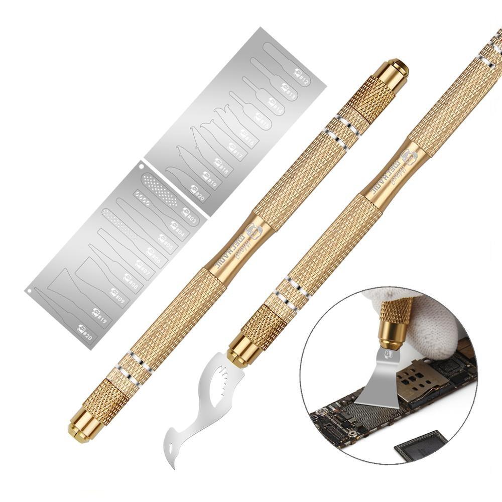 Mecânico não-deslizamento de metal bisturi faca kit cortador gravura artesanato carving facas + 20 pçs lâminas do telefone pcb reparação ferramentas manuais