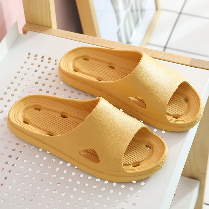 New Summer Shoes Woman Flat Sandals Men Women Indoor Home Slippers Flip Flops Solid Non-slip Bath Slippers Female Shoes