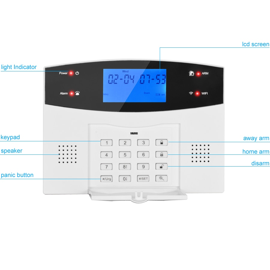 G2BW LCD Keypad WIFI GSM PSTN Home Burglar Security Wireless Wire Alarm System Motion Detector APP Control Fire Smoke Detector enlarge