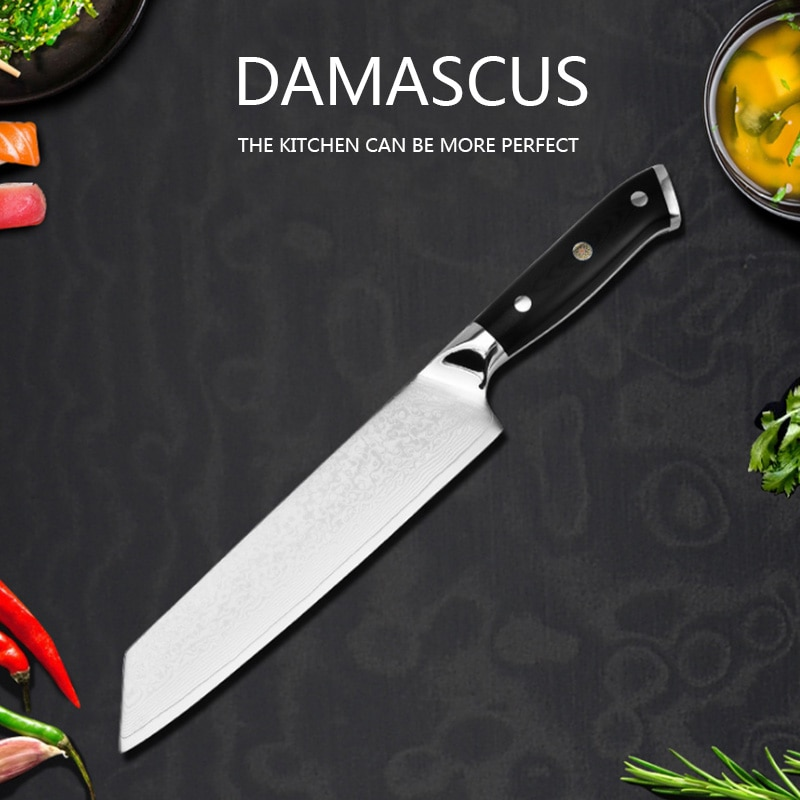 Cuchillo cuchillo de acero de Damasco de cocina profesional, utensilio de cocina...