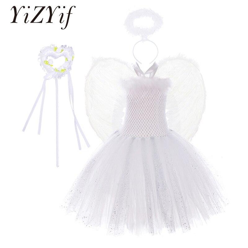 Blanc étincelle filles plume ange fête danniversaire Tutu robe enfants noël ange fête Cosplay Costume ange ailes fée baguette