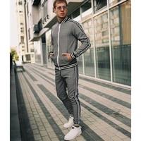 2021 new mens tracksuits plaid casual zipper jacket suit spring autumn fashion male sweatshirt clothes for men