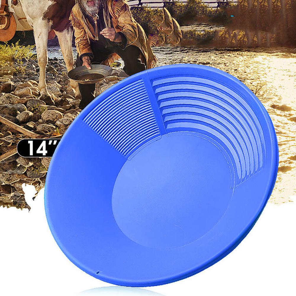 14inch Plastic Gold Basin Dual Riffle Gold Pan Nugget Mining Pan Mining Dredging Prospecting Wash Gold Panning Equipment Tool