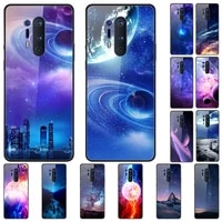case for oneplus 8 pro back phone cover black silicone bumper with tempered glass star sky series