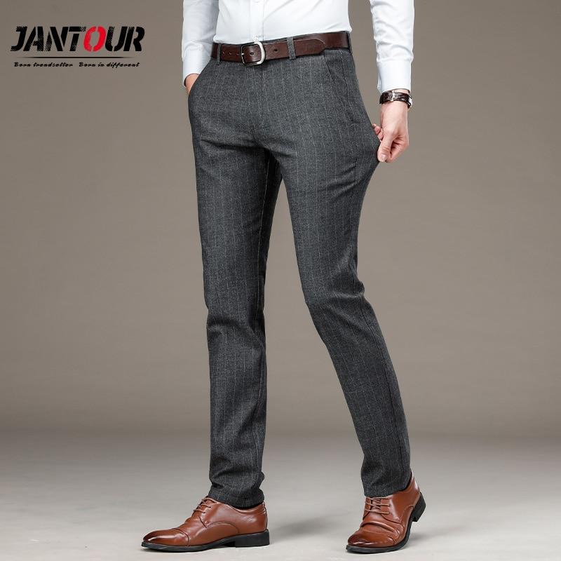 Outono terno calças dos homens algodão em linha reta vestido calças sociais preto cinza formal negócio masculino casamento casual calças 29-40