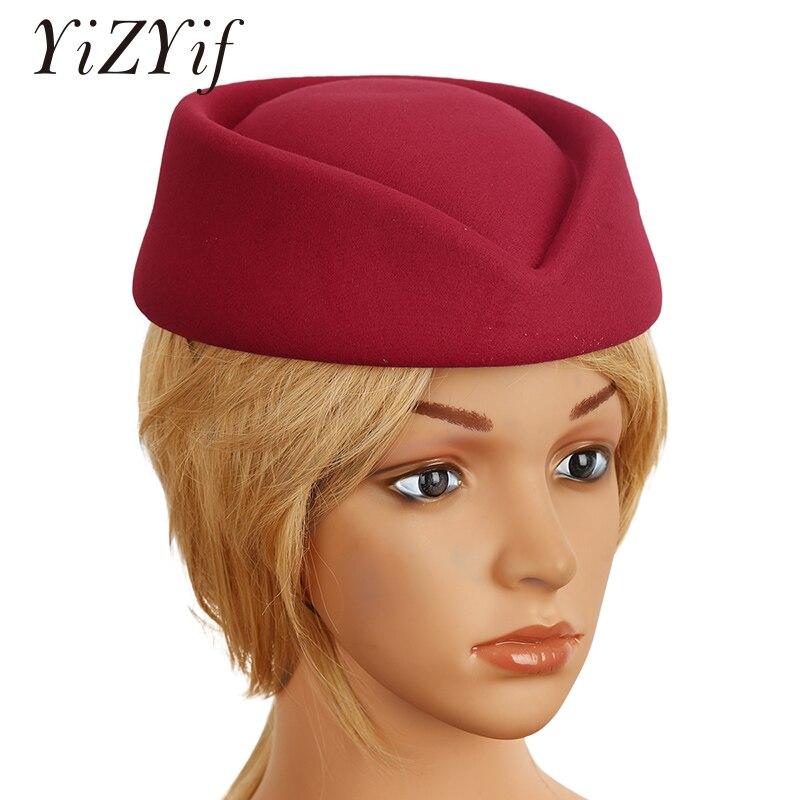Imitación de lana de fieltro azafata sombrero Pillbox sombrerería Teardrop Fascinator Base Cap para Cosplay traje Accesorios