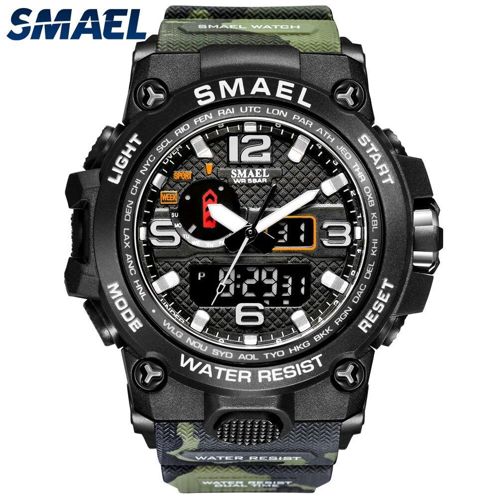 Relógios para Homem Resistente à Água Smael Marca Legal Choque Relógio Despertador Reloj Hombre 1545d Camuflagem Militar Esporte Relógios Masculino 2021