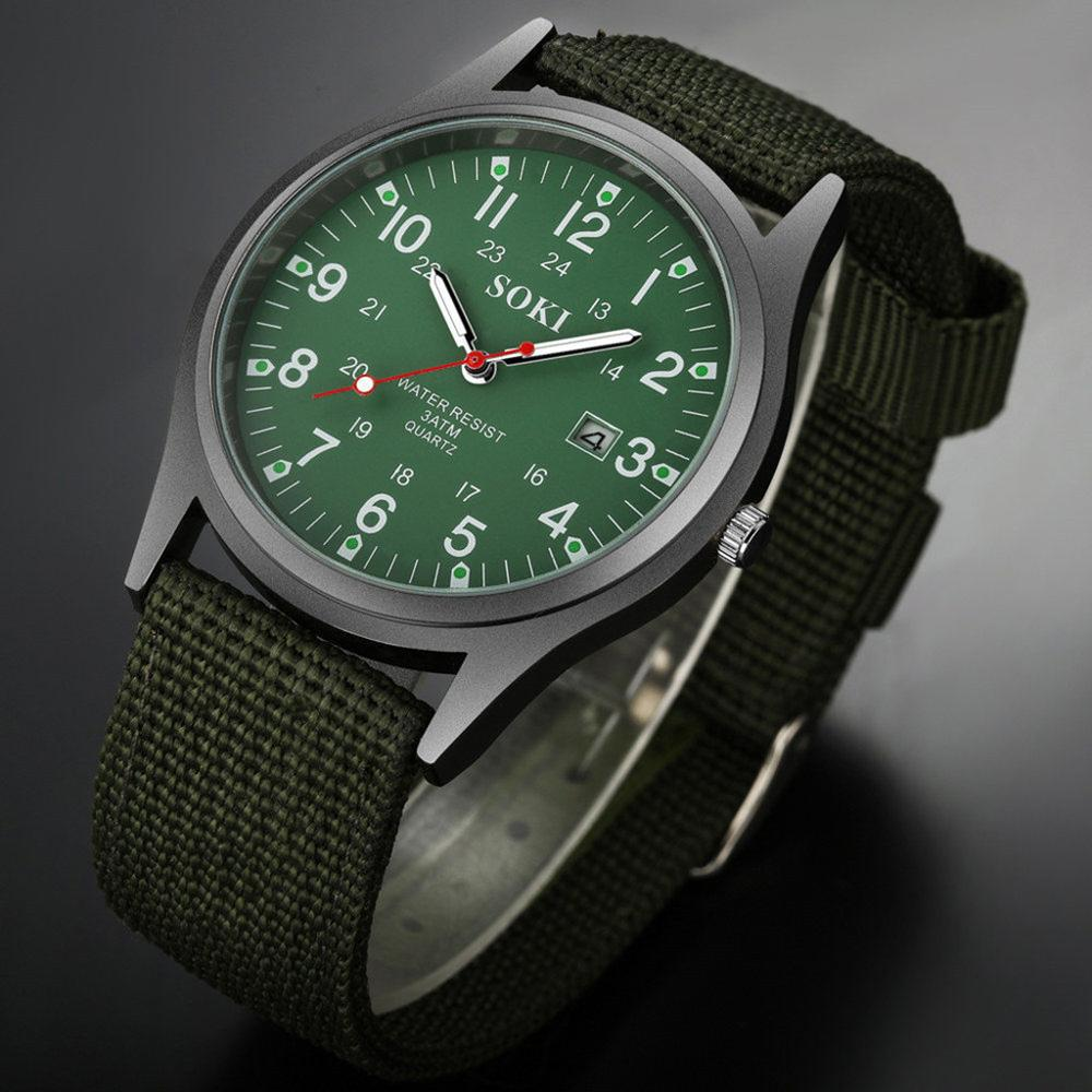 SOKI moda 2019 nueva correa tejida de Nylon reloj de calendario para hombre reloj de pulsera para hombre decoración de fiesta reloj de negocios regalo Dropshipping