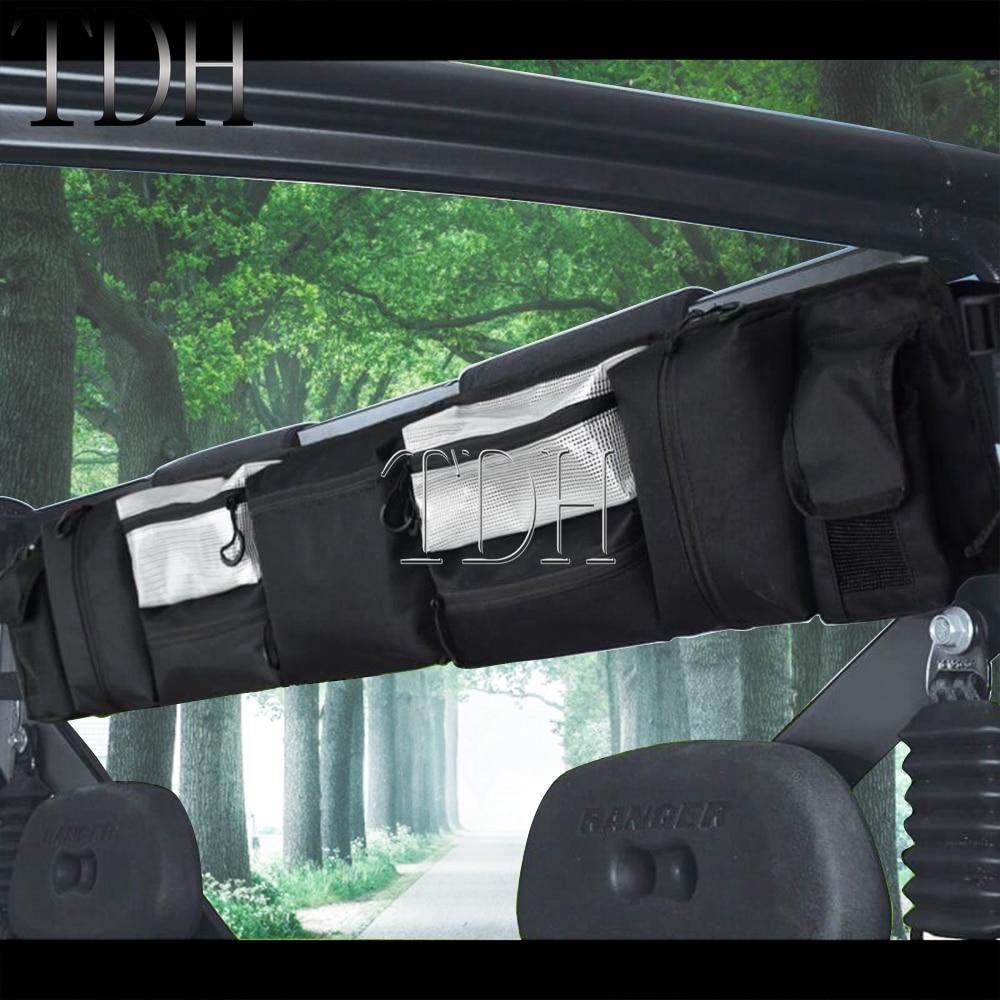 Para Yamaha Kawasaki Honda UTV jaula de rollo negro organizador bolsa de almacenamiento impermeable Multi bolsillos para Polaris RZR Ranger 2002-2014