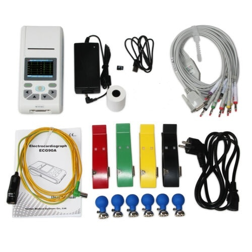 free shipping contec cms vesd multi functional visual stethoscope free earphone ecg pr heart rate spo2 pc software 2 4 lcd new CONTEC 12-Channel ECG/EKG Machine Electrocardiograph, PC software, Touch Screen ECG90A
