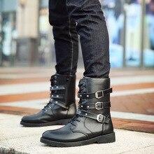 Hommes Martin bottes en cuir Pu hommes Rivet chaussures mi-mollet bottes hommes talons bas hommes bottes taille hommes italien bottes us armée bot
