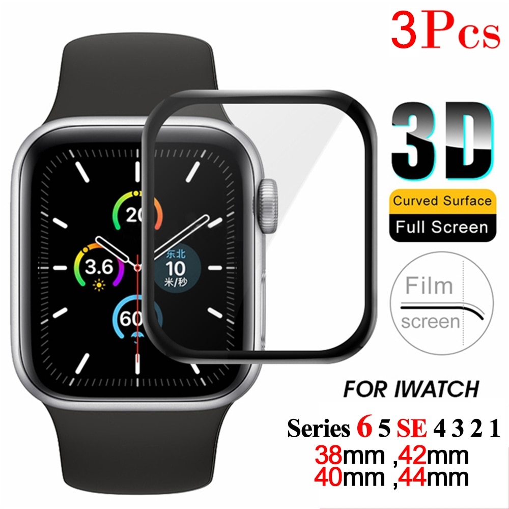 3d full cover tempered glass for apple watch series 1 2 3 4 5 protective screen protector for iwatch 38 42 40 44 mm soft film Full Cover Screen Protector For Apple Watch Series 6 5 SE 4 3 2 1 Protective Film iWatch Soft Glass For Apple Watch Accessories