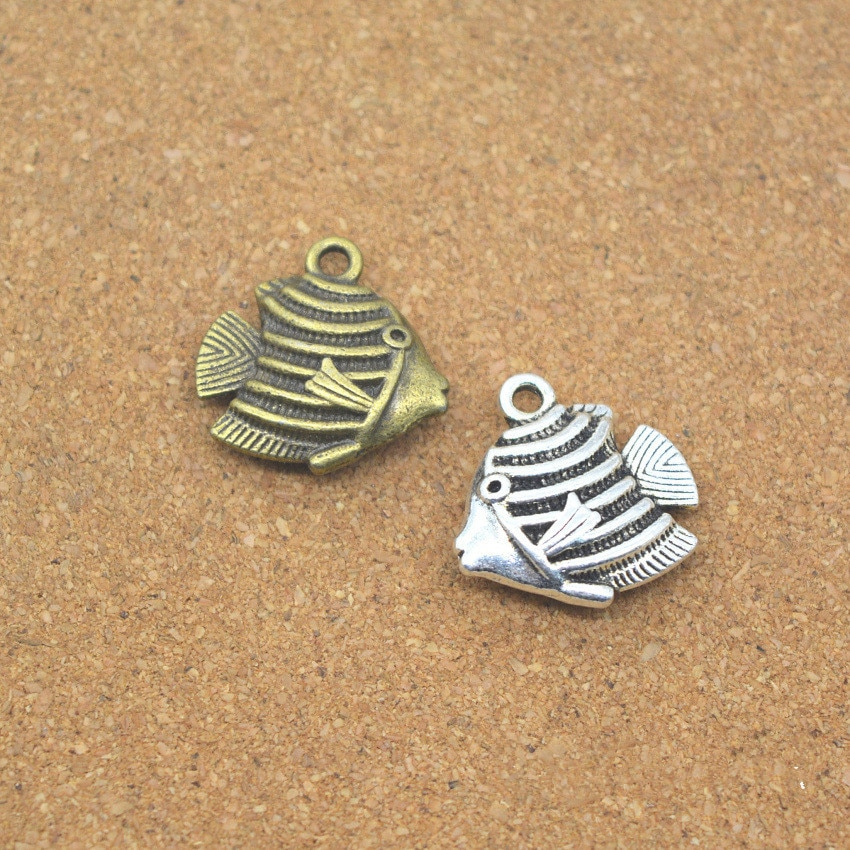 2 Ocean Animal Fish Charms 17*17*5MM Cute 2-Sided Fish Charms for Bracelet Jewelry Accessories DIY  - buy with discount