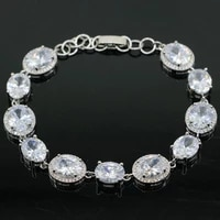 13x11mm european style 15g created white sapphire womans gift silver bracelet 7 0 8 0inch