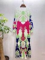 europe spring 2021 runways fashion womens high quality print long sleeves pleated dress b684