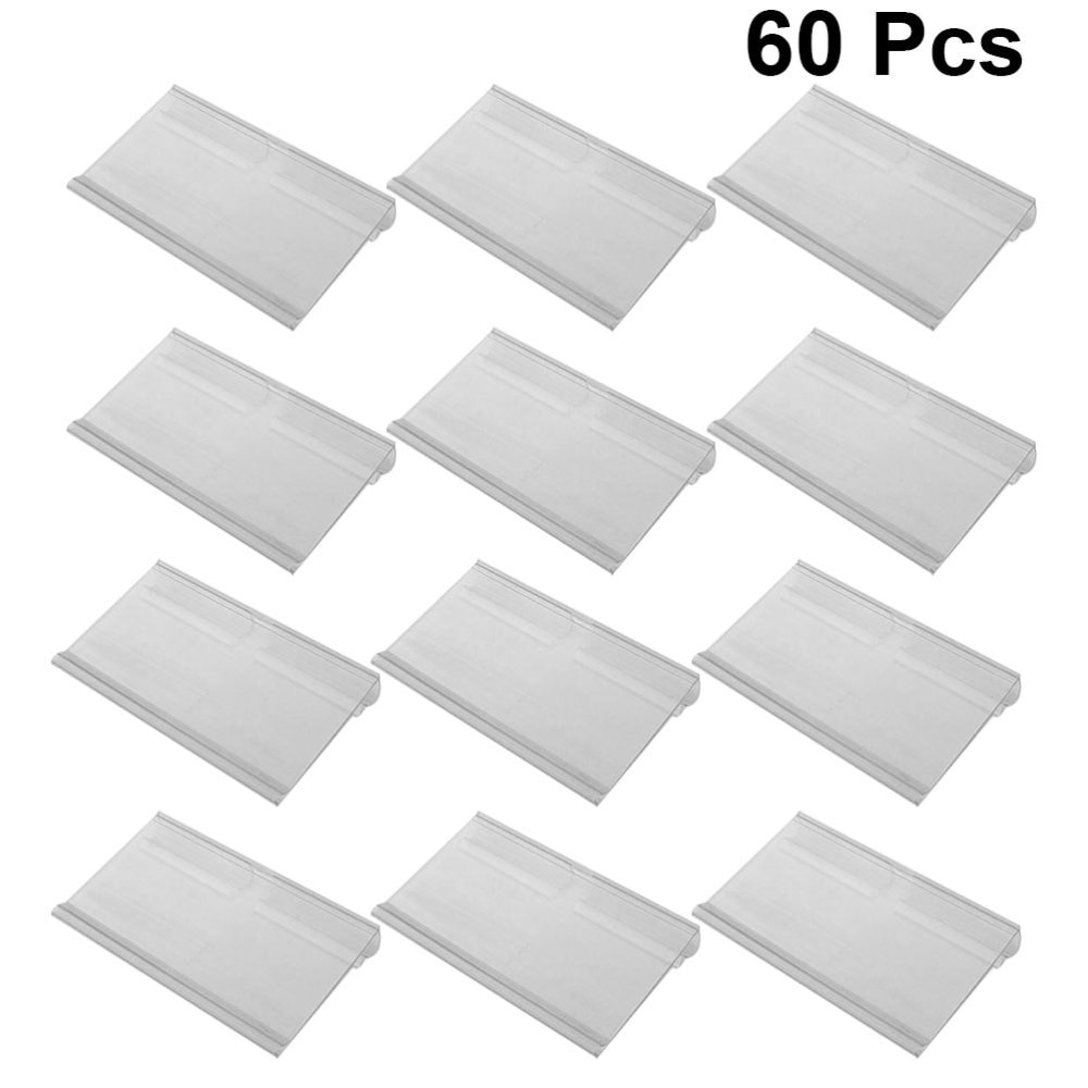 plastic acrylic display hanging stand holder shelf layers for quick store cigarette bottle commodity wall hung 1set 60Pcs Plastic Sign Label Holder Hanging Hook Shelf Retail Price Tag Label Card Merchandise Sign Display Holder Stand (Transpare