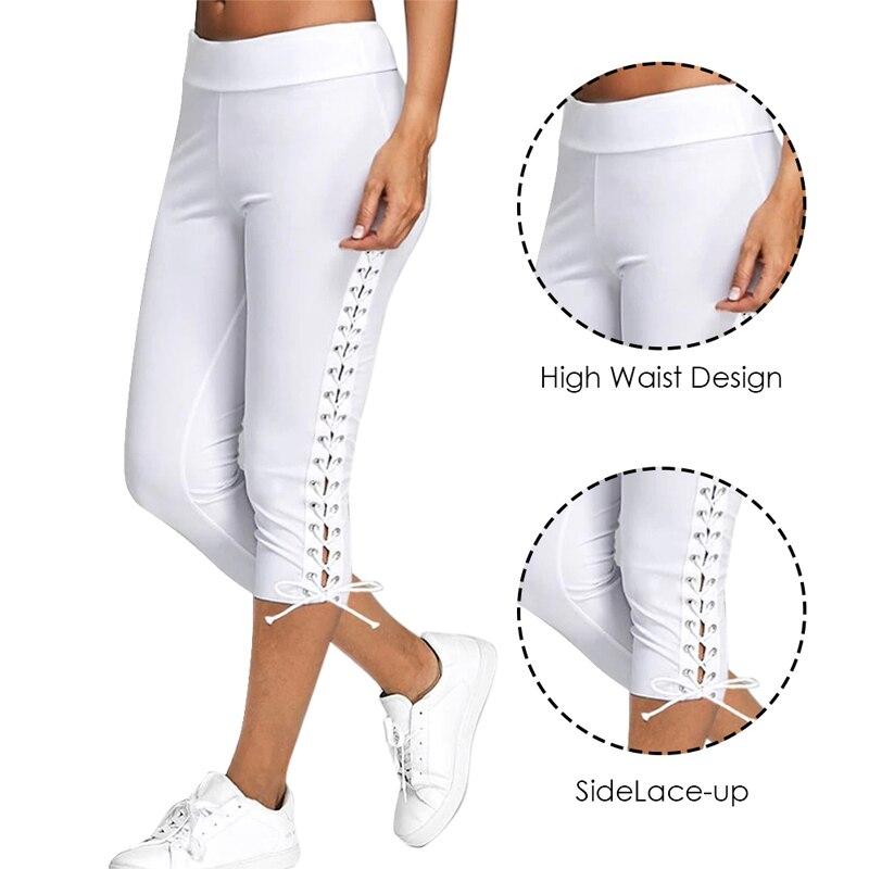SFIT 2019 Spitze Up Capri Leggings Casual Hohe Taille Frauen Side Bandage Frauen Leggings Frauen Böden Hosen Solide Weiß Schwarz