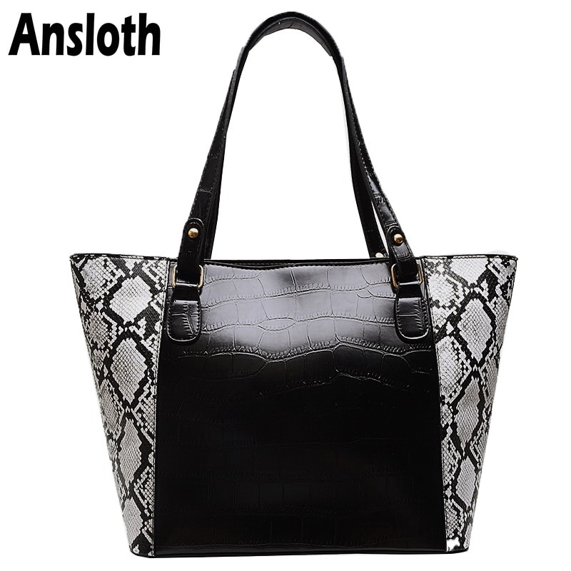 Ansloth Stone Pattern Handbag Ladies PU Leather Handle Bag Women Bag Serpentine Shoulder Bag Female Black Crossbody Bag HPS746