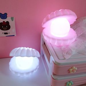 Pearl Shell LED Night Light Girl Bedroom Desktop Lamp Lovely Living Room Table Lamp Lights Shell Home Decoration Ornaments Gifts