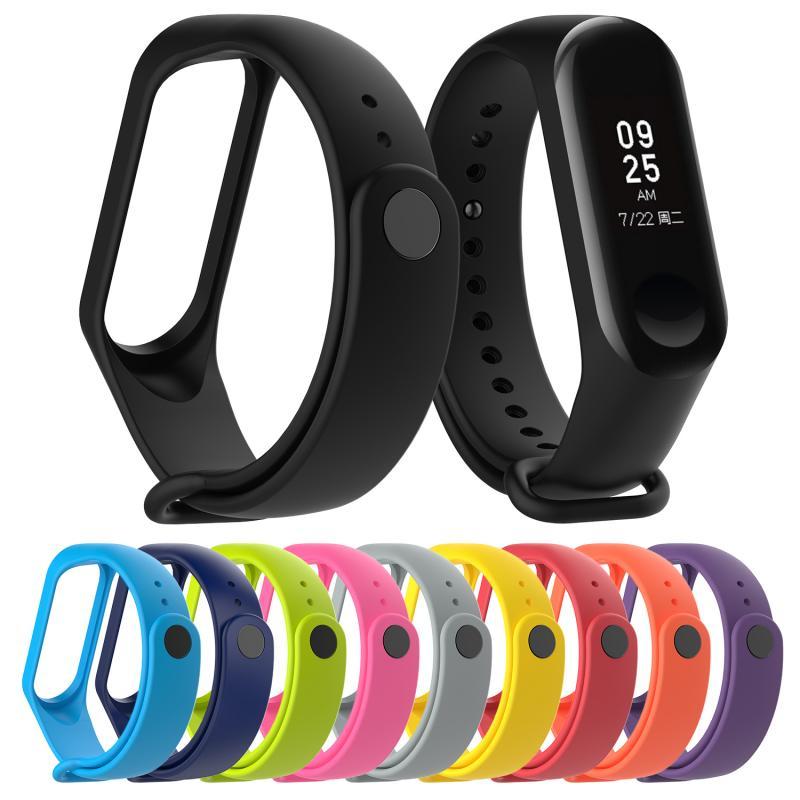 1 pçs silicone pulseira esporte cinta silicone pulseira de pulso para xiaomi mi banda 4 pulso à moda durável cor tpu substituição cinta
