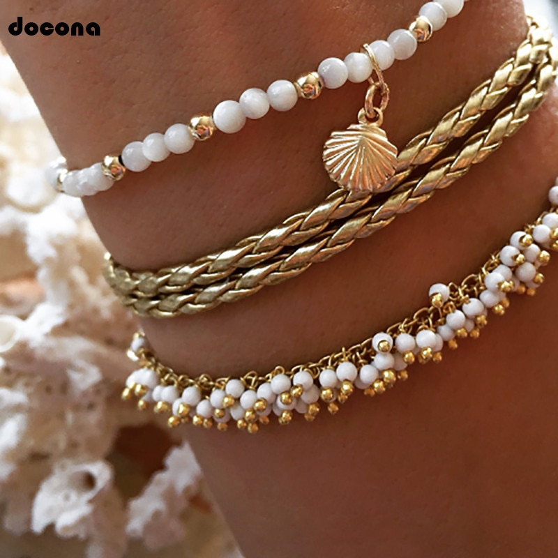 Docona Bohemia Gold Shell White Beaded Multilayer Anklet for Women Tassel Knitted Bracelet Set Foot Party Jewelry 8408