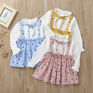 New spring and autumn Korean girls polka dot color matching long sleeve dress casual cute elegant dress 1-3 years old clothing