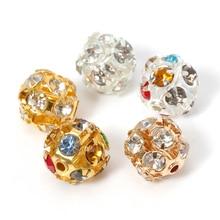 30 Pcs Strass Kralen Bal Koper Plated Glas Imiteren Crystal Ronde Spacer Losse Kralen Diy Accessoires Voor Sieraden Maken