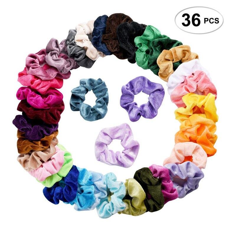 36 Pcs/set Vintage Hair Scrunchies Stretchy Velvet Scrunchie Pack Women Elastic Bands Girl Headwear Solid Rubber Ties