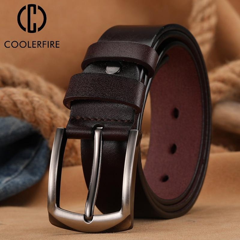 Fashion Homme Genuine Leather Luxury Leather Pin Buckle Men's Belt Male Cummerbunds Cowboy  Ceinture