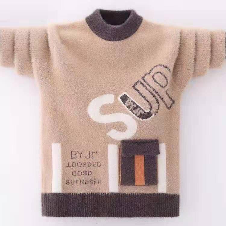 جديد بنين المنك البلوزات 3-13 سنة رسالة الأطفال ملابس طويلة الأكمام الخريف والشتاء س الرقبة الاطفال ملابس كاجوال