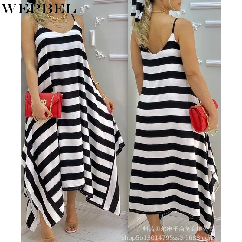 scoop neck sleeveless striped loose fitting dress for women WEPBEL Loose Sleeveless Dress Women's Casual Dress Summer Sexy O-Neck Striped Backless Spaghetti Strap Irregular Dress