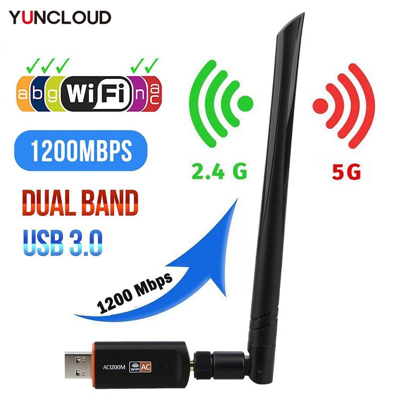 Мини-адаптер Wi-Fi, беспроводной USB-драйвер 1200 Мбит/с, 600 Мбит/с, Lan, USB, Ethernet, 2,4G, 5G, Двухдиапазонная Wi-Fi Сетевая Карта 802.11n/g/a/ac