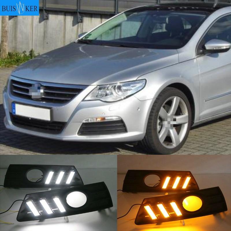 LED النهار تشغيل ضوء ل Volkswagen باسات CC 2009 2010 2011 2012 2013 مقاوم للماء ABS 12 فولت سيارة DRL الضباب مصباح الديكور