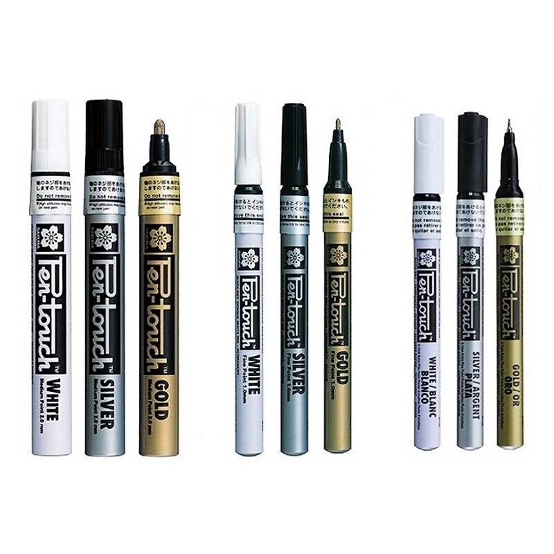 0.7/1.0/2.0mm Sakura Calligraphy Pen Touch Paint Marker Pens Gold Silver White