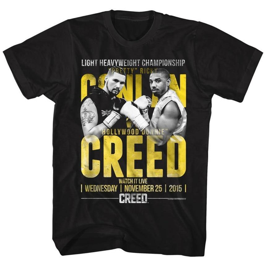 Camiseta negra de manga corta de Rocky MenS Conlan Vs Creed 36Th 30Th 40Th 50 cumpleaños camiseta