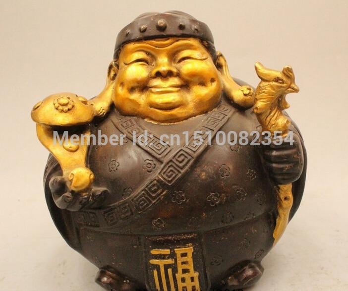 """7 """"chinesischen Fengshui Folk Bronze Gild langlebigkeit Ruyi Boden Oma Statue"""
