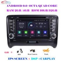 Coche reproductor Multimedia 2 Din Android 10.0For AUDI TT MK2 8J 2006-2014 sistema de navegación GPS de Radio DVD con carplay CP