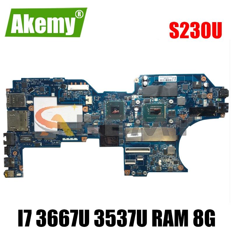 Akemy QIPA1 LA-8671P لينوفو ثينك باد S230U تويست دفتر اللوحة CPU I7 3667U 3537U RAM 8 جيجابايت 100% اختبار العمل