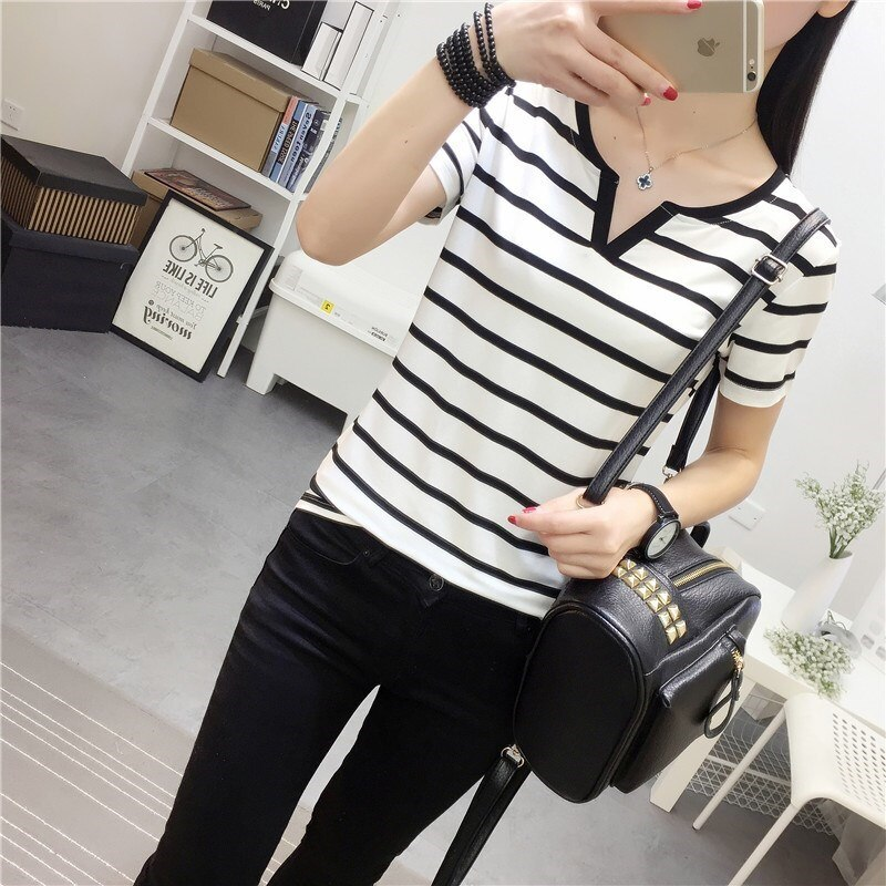 Camiseta de manga corta para mujer, nuevo estilo, con cuello en V, ropa de verano, ropa ajustada para mujeres jóvenes, vestido de media manga, blusas 201