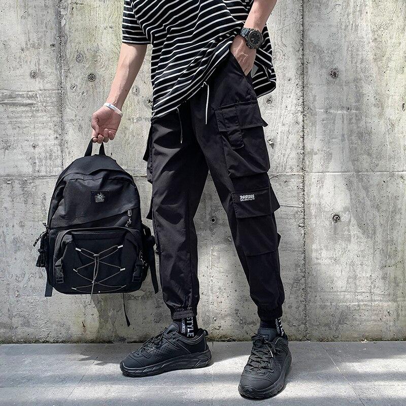 Брюки-карго мужские с несколькими карманами, повседневные штаны, Джоггеры в стиле хип-хоп, спортивные штаны с эластичным поясом, повседневн...