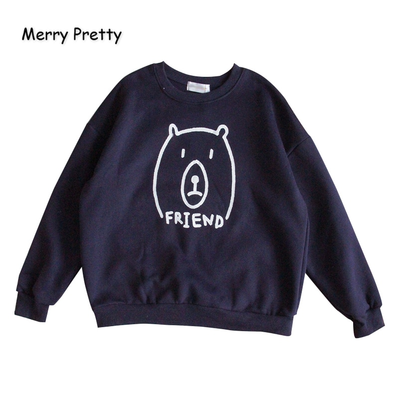 Women Cartoon Bear Print Funny Hoodies Sweatshirts Femme Harajuku O-Neck Pullovers 2020 New Casual Loose Tracksuit MERRY PRETTY