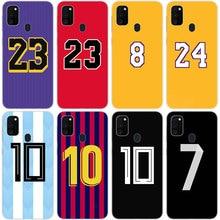 Coque souple avec numéro de Football, pour Samsung Galaxy M11 M10S M01 M21 M31S M51 A01 J2 Core A21 A42 J6 A6 A8 Plus A7 2018